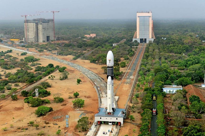 Panoramic View of India's GSLV-Mk III-D1 rocket being moved to second launch pad.