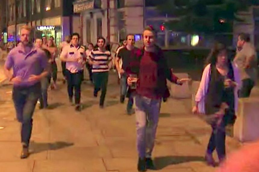 Screen capture of man drinking pint of beer while running from the London Bridge terror attacks on June 3, 2017.