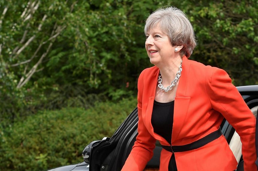 Britain's Prime Minister Theresa May arrives at an election campaign event in Wrexham, Wales.