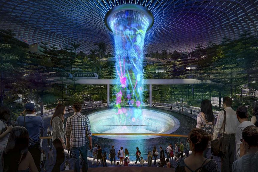 Artist's impression of the 40m indoor waterfall at the Jewel Changi Airport.