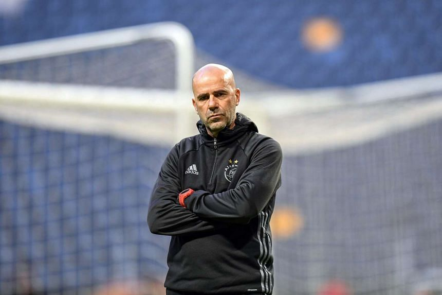 Ajax head coach Peter Bosz leads his team's training session at Friends Arena in Stockholm, Sweden on May 23, 2017.