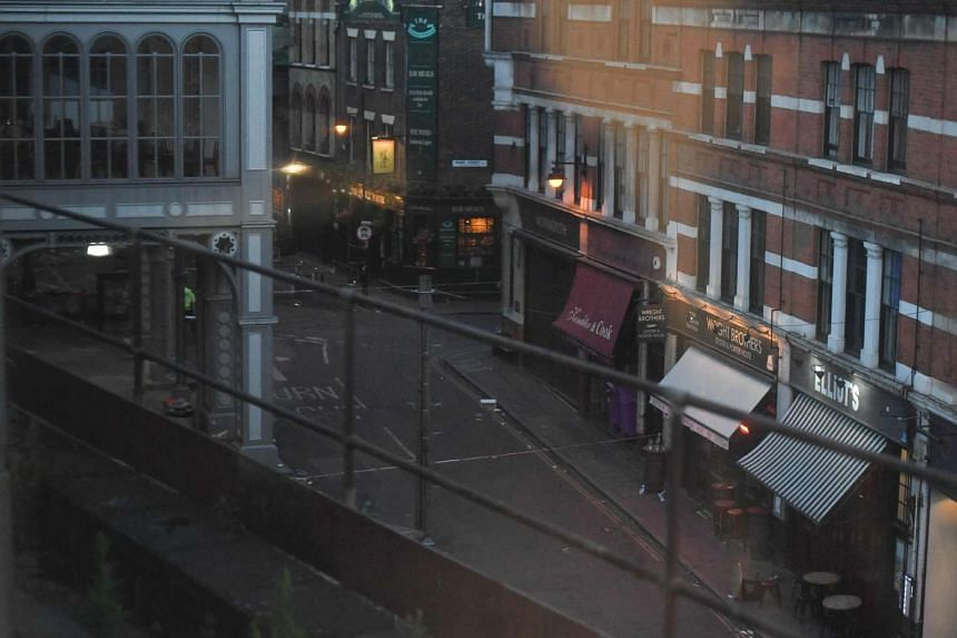 The empty Stoney Street lined with restaurants and bars outside Borough Market in London on June 4, 2017, a day after the terror attack.