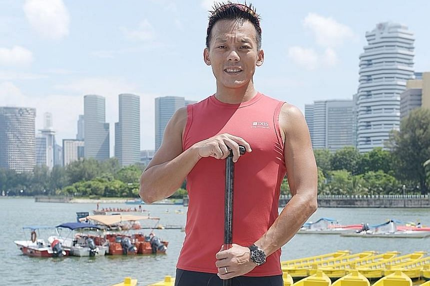 Mr Jeffrey Ho fits his weekend family time around his dragon-boat training schedule.