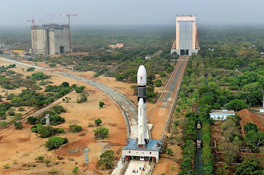 A panoramic view of the GSLV Mark-III rocket being moved to its launch pad.