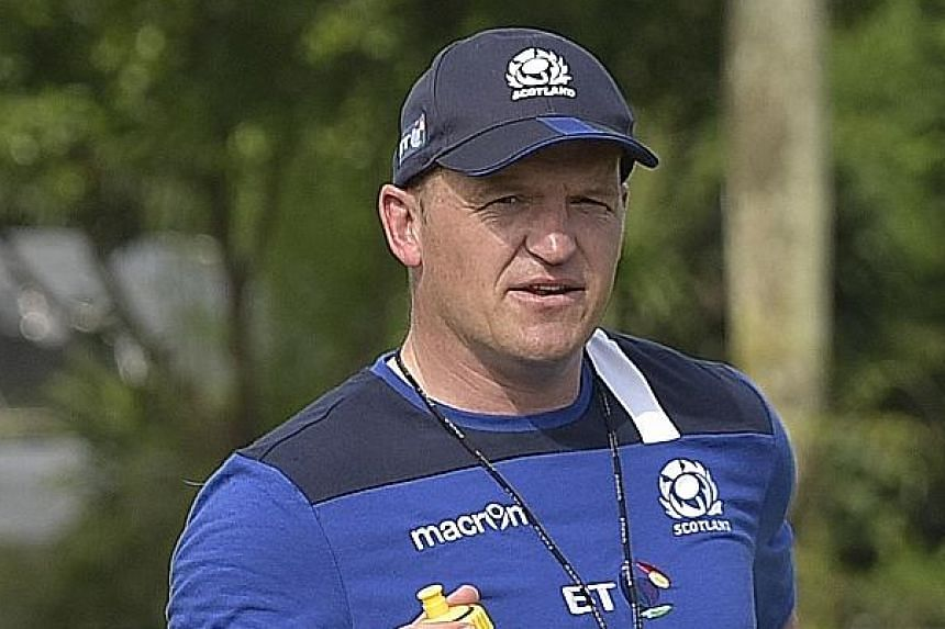 Scotland's rugby team at a public training session yesterday, ahead of their Test match against Italy at the National Stadium on Saturday. New coach Gregor Townsend wants his side to play with freedom.
