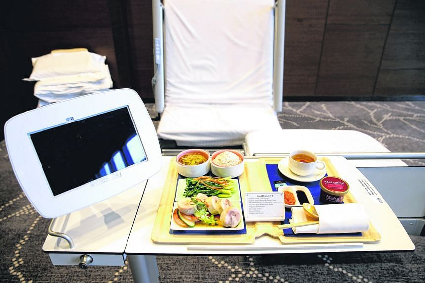 At Farrer Park Hospital, patients can shop on wireless tablets and have purchases delivered to their bedside within 30 minutes. The hospital also shares its kitchen with the adjoining One Farrer Hotel and Spa, said the hospital's chief executive, Dr