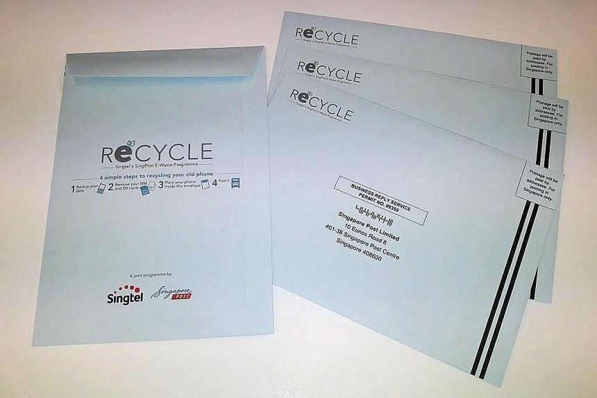 People can pick up ReCYCLE envelopes at any Singtel shop or exclusive retailer outlet and post office, and mail their unwanted electronic items at no charge.