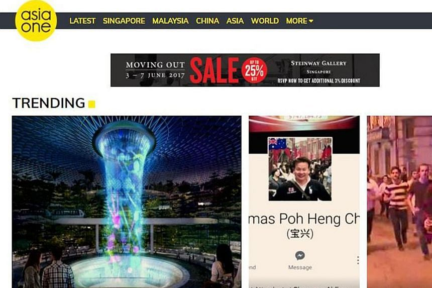 The AsiaOne website, which features a new logo, will provide bite-sized information that is easy to read and digest.