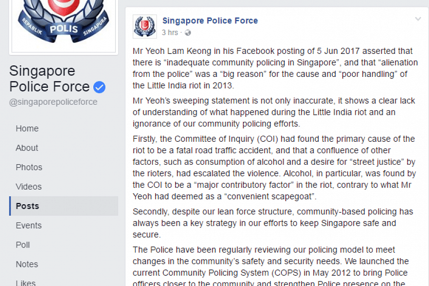 A screengrab of the post on Mr Yeoh Lam Keong written by the Singapore Police Force.