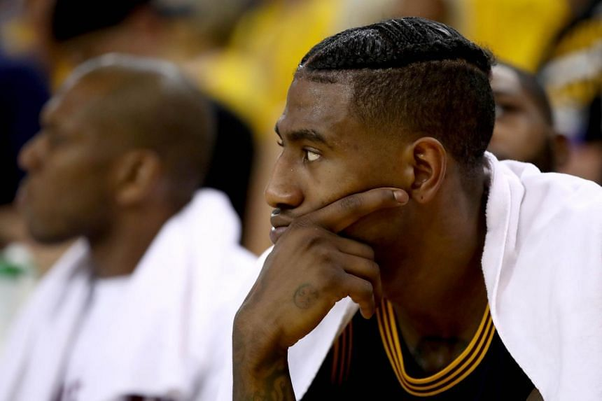 Cleveland Cavaliers guard Iman Shumpert reacting during the team's Game 1 loss to the Golden State Warriors, on June 1, 2017.
