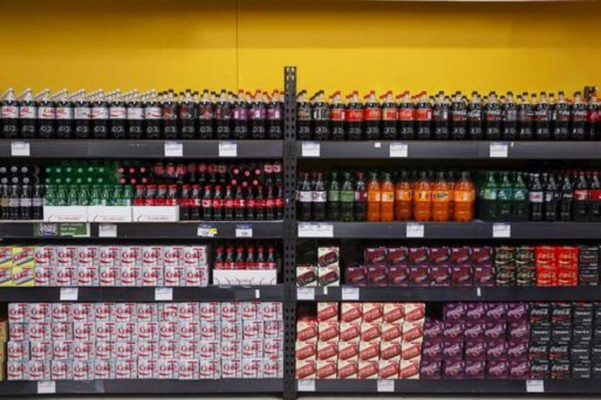 Sodas are displayed at a Walmart store in Secaucus, New Jersey.