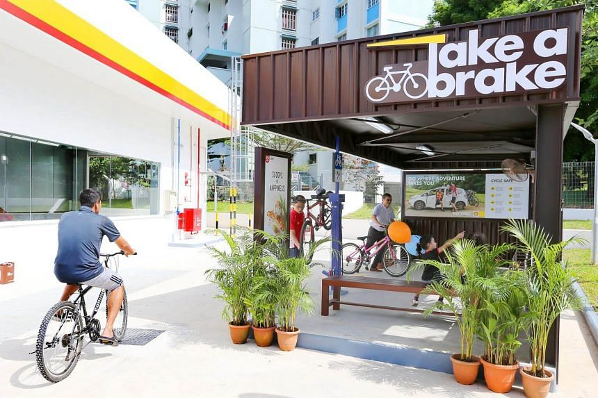 """The bicycle bay """"Take a Brake"""" at the revamped petrol station along Tampines Avenue 2 on Wednesday (June 7)."""