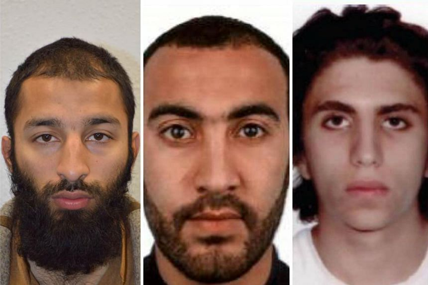 Zaghba, 22, (far right) with fellow attackers Khuram Shazad Butt (left) and Rachid Redouane.