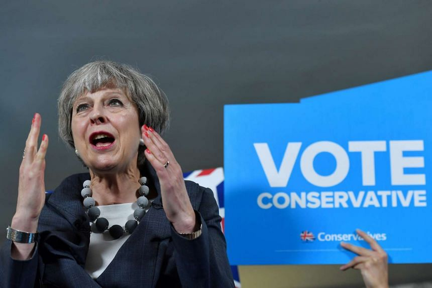 Britain's Prime Minister Theresa May delivering a speech during an election campaign visit on Tuesday (June 6).