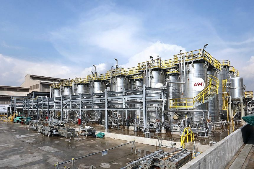 Construction on ExxonMobil's new synthetic lubricant manufacturing plant was completed in March, and the plant started production in April.