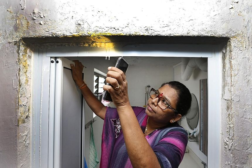 Madam Bavani C and her husband S. Gunasekaran have put a pail, which could get filled up in two or three days, under the toilet door frame where water can be seen dripping.