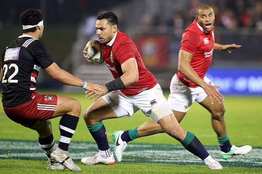 The British and Irish Lions' Ben Te'o looking for a gap in defence during their 13-7 win over the New Zealand Provincial Barbarians. The visitors need to show on the field they can adjust to an unstructured style.
