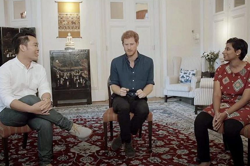 Prince Harry having a closed-door session on mental health with youth mentors Cho Ming Xiu, Nadera Abdul Aziz and four others (not in picture) at the British Ambassador's residence.