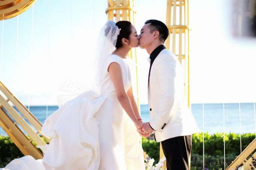 Actress Ady An wed businessman Levo Chan in Hawaii on Monday (June 5) evening.