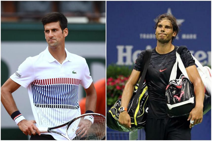 Novak Djokovic (left) and Rafa Nadal had their French Open matches postponed due to the rain.