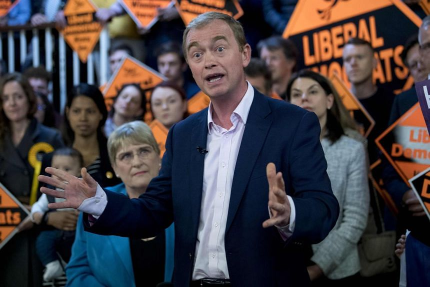 Liberal Democratic Party leader, Tim Farron speaking at a campaign event in London on April 24, 2017.