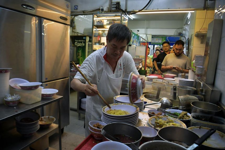 Mr Chua Hock Cheng, 60, has been working at the stall for the past 40 years.