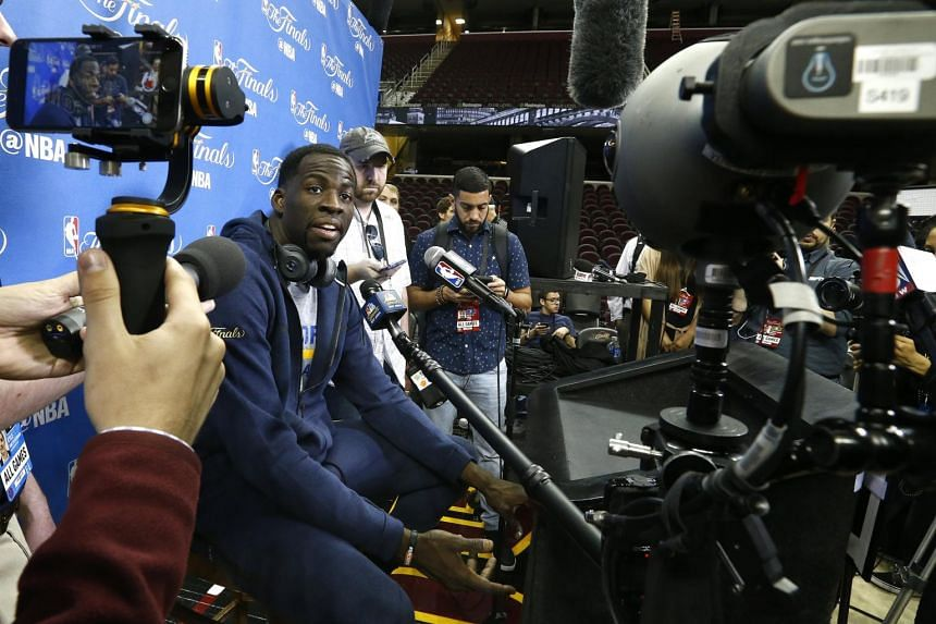 Golden State Warriors player Draymond Green speaking to the media during practice before game three of the NBA Finals basketball game in Cleveland, Ohio, US, on June 6, 2017.