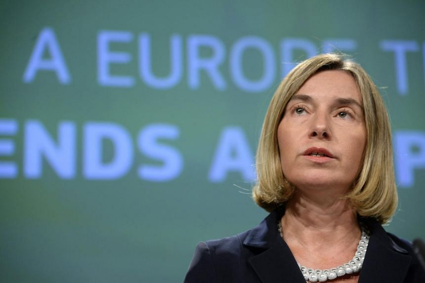 European Union High Representative for Foreign Affairs and Security Policy Federica Mogherini talks to the media about the future of the European Defence at the European Union Commission headquarter in Brussels, on June 7, 2017.