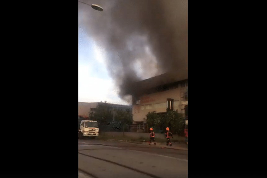 A screengrab from a video of the fire that broke out at an industrial building at 6, Tuas South Street 8 on Wednesday (June 7).