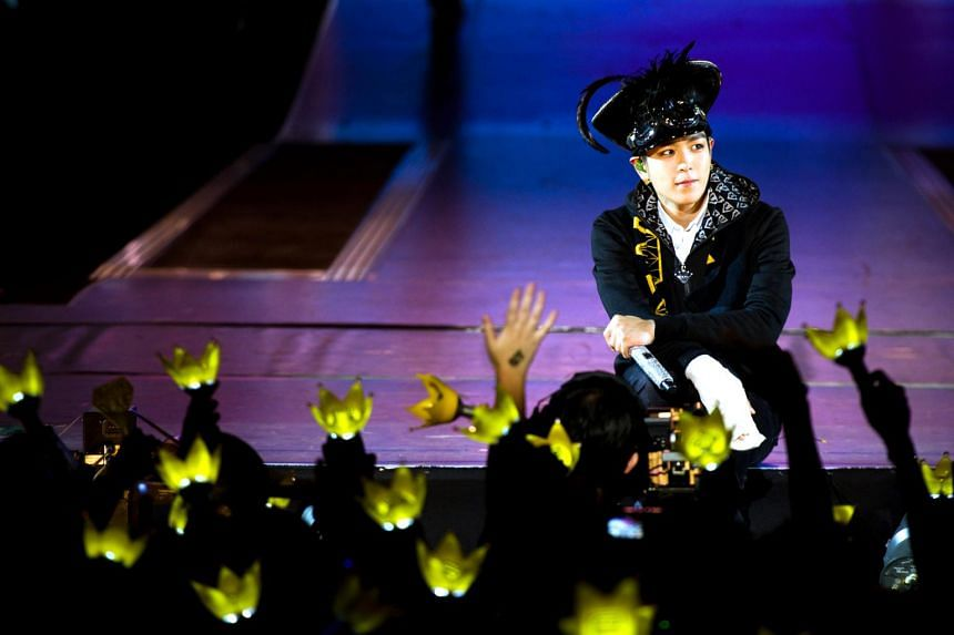 T.O.P performing at the BigBang Alive Galaxy Tour in Singapore on Sept 28, 2012.