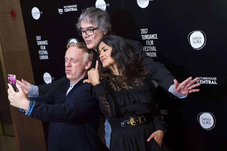 Salma Hayek with screenwriter Mike White (left) and director Miguel Arteta at the European premiere of Beatriz At Dinner in London on June 1.
