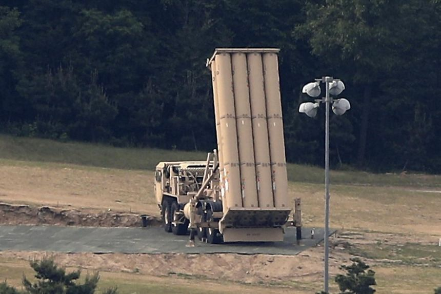 A view of a Terminal High Altitude Area Defense launcher installed upright at a golf course in Seongju, some 300km southeast of Seoul, South Korea, on May 30, 2017.