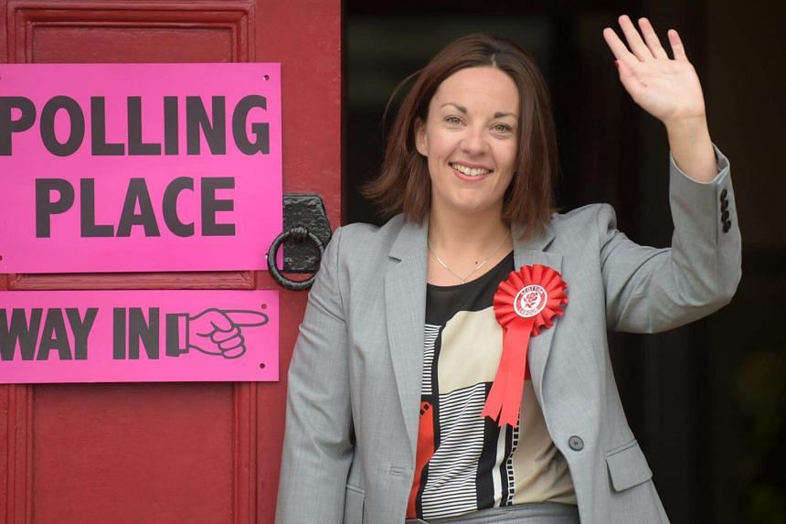 Scottish Labour Party leader Kezia Dugdale, posing as she arrives at the polling station at Wilson Memorial Church, Edinburgh, on June 8, 2017 to cast her vote in the 2017 general election.