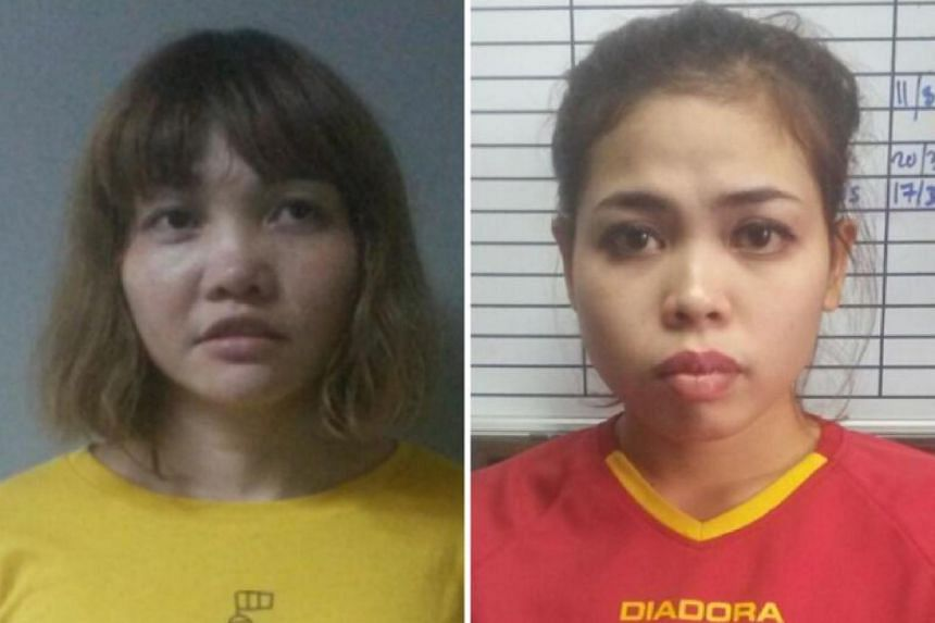 Doan Thi Huong of Vietnam (left) and Siti Ashyah of Indonesia, who were detained in connection to the Feb 13 assassination of Kim Jong Nam.