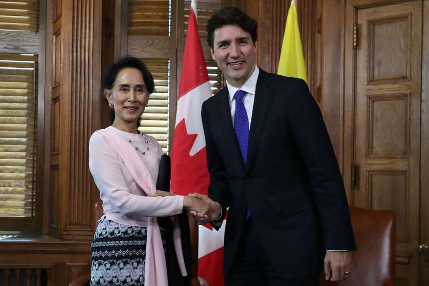 Myanmar State Counsellor Aung San Suu Kyi meets with Canadian Prime Minister Justin Trudeau in Ottawa.
