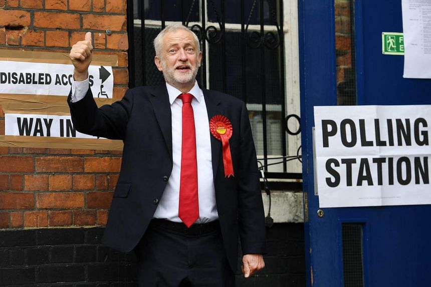 British Labour Party leader Jeremy Corbyn arriving to vote in the British General election at a polling station in Islington, north London, Britain, on June 8, 2017.