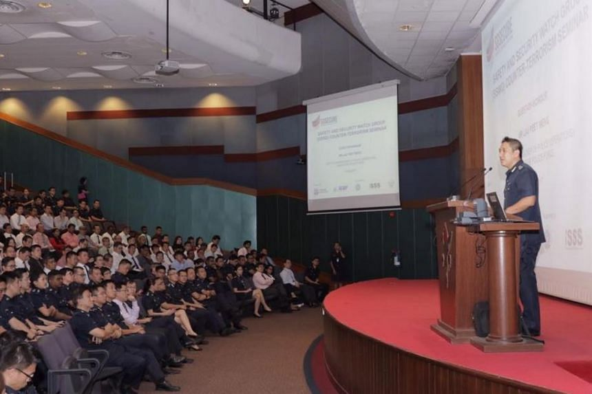 Deputy Commissioner of Police (Operations), Mr Lau Peet Meng, addressing the participants of the Safety & Security Watch Group counter-terrorism seminar at Hwa Chong Institution on June 8, 2017.