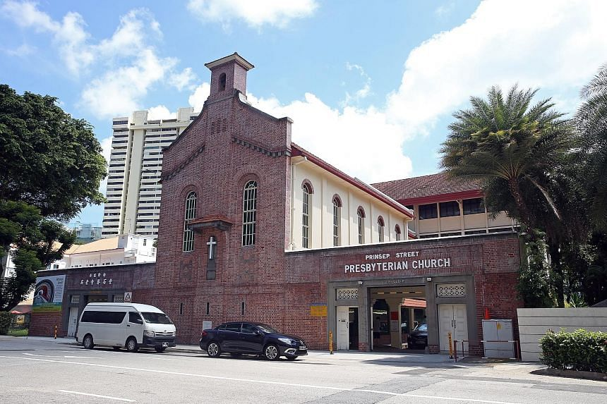 The grey terrazzo tiles in the ground-floor sanctuary are a deviation from the Romanesque-style architectectural features in other parts of the building. Prinsep Street Presbyterian Church, known as Gereja Keasberry (Keasberry's church) and the Malay