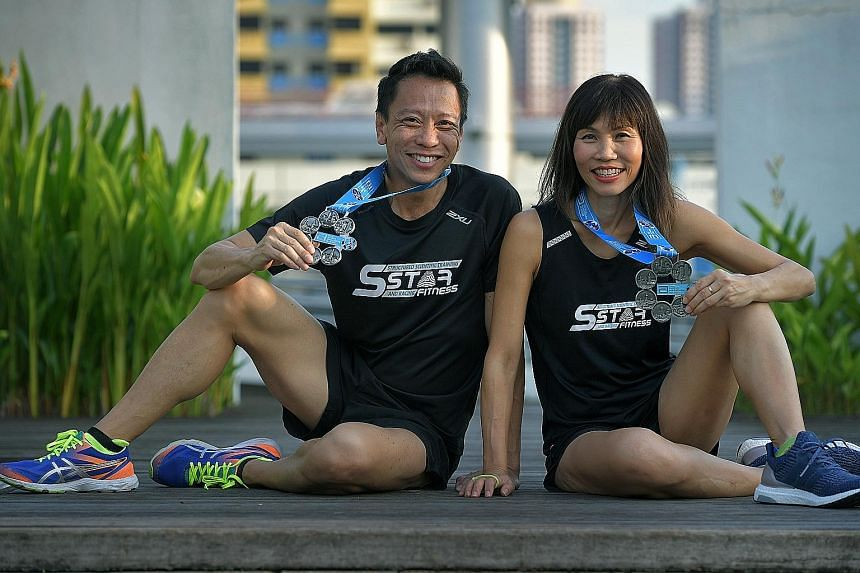 Andrew Cheong and Diana Lee with their Six Star Finisher medals. Lee, who started running marathons in 2009, had her first experience at the World Marathon Majors in Boston when supporting Cheong. She was so enthralled with the atmosphere that she de