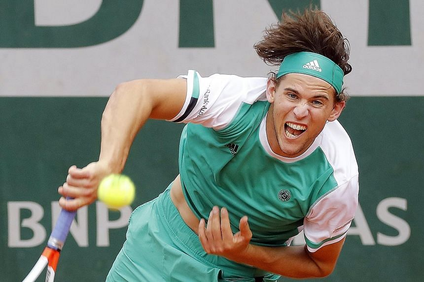 World No. 7 Dominic Thiem serves up a bagel in the third set against defending champion Novak Djokovic in their French Open quarter-final. It was the first time since the 2005 US Open that the Serb lost a set 0-6.