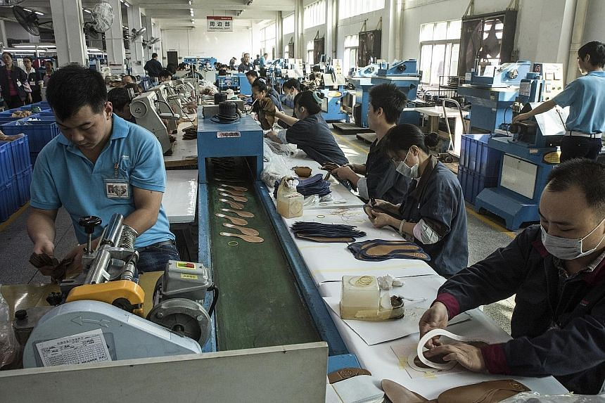 A Dongguan factory which makes shoes for the Ivanka Trump brand and others. China Labour Watch said three activists being held had found evidence of rights violations.