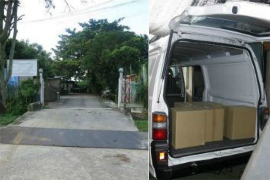 Duty-unpaid cigarettes were found in a van parked inside the farm in Sungei Tengah Road.