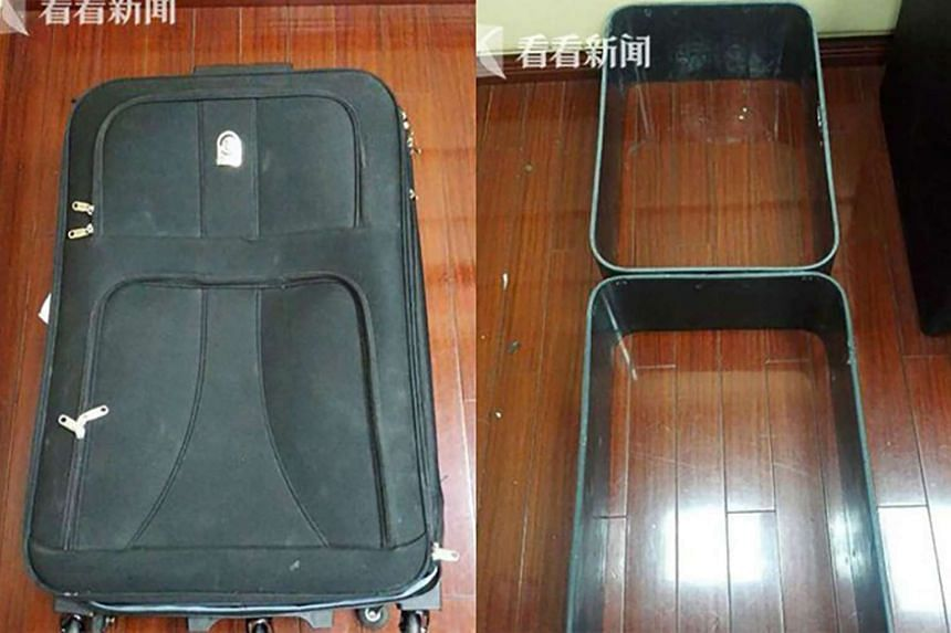 A woman was arrested at Shanghai Pudong International Airport after she tried to smuggle in two suitcases made of cocaine.