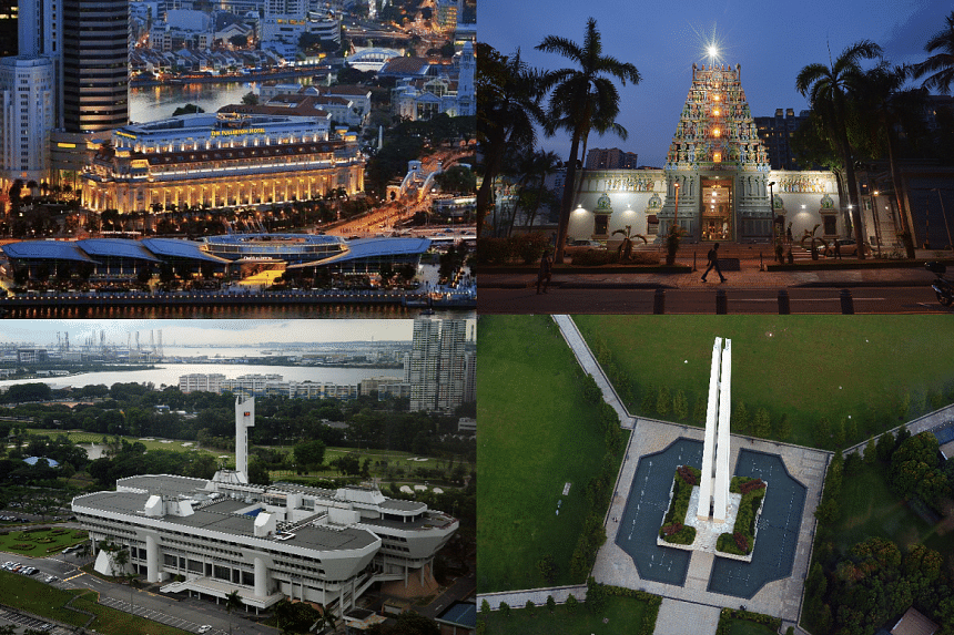 Four national monuments: (Clockwise) the Fullerton Building, Jurong Town Hall, Civilian War Memorial and Sri Thendayuthapani Temple.
