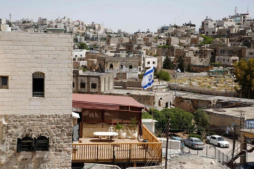 Houses occupied by Jewish settlers in the West Bank city of Hebron.