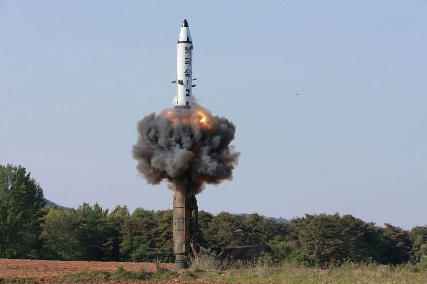 File photo of the scene of the intermediate-range ballistic missile Pukguksong-2's launch test.