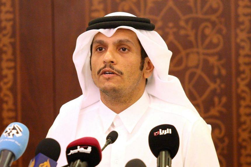 Qatar's Foreign Minister Sheikh Mohammed bin Abdulrahman Al-Thani attending a news conference in Doha, Qatar, on May 25, 2017.