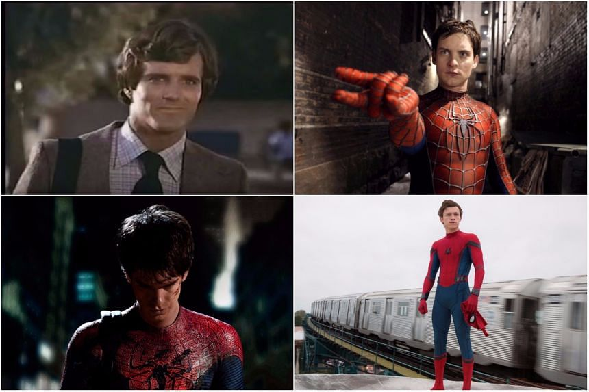 (Clockwise from top left) Nicholas Hammond, Tobey Maguire, Tom Holland and Andrew Garfield.