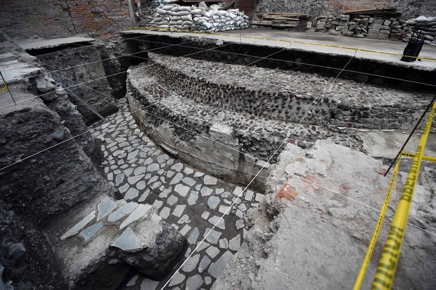 View of the archaeological site of the ancient Aztec temple of Ehecatl-Quetzalcoatl and ritual Ball Game recently discovered in downtown Mexico City.