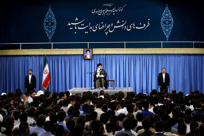 A handout picture provided by the office of Iran's Supreme Leader Ayatollah Ali Khamenei on June 7, 2017 shows him (centre) delivering a speech to Iranian students in the capital Tehran.